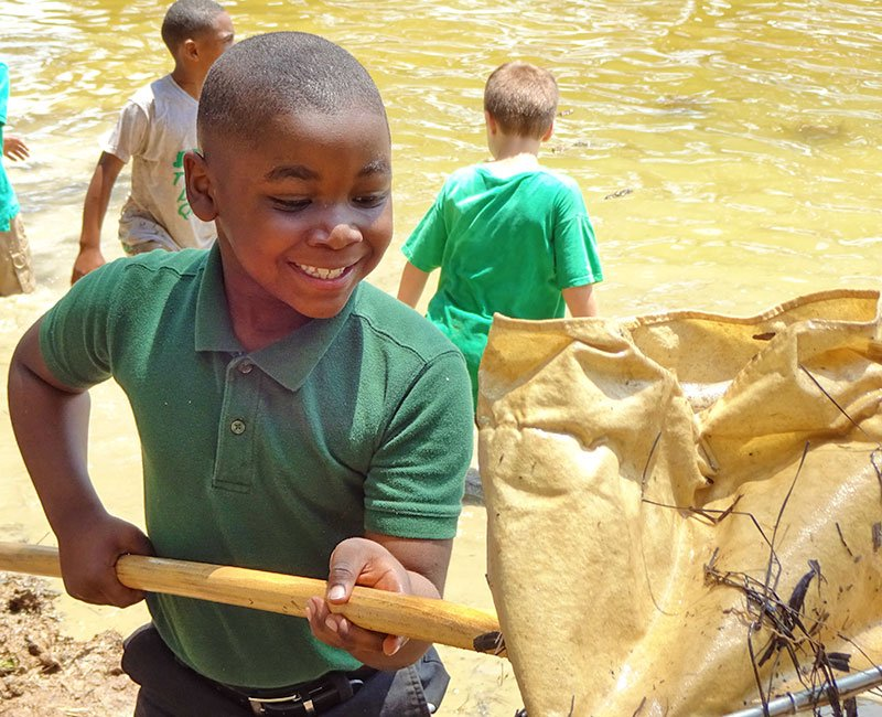 Young boy using a net to catch aquatic insects from a pond